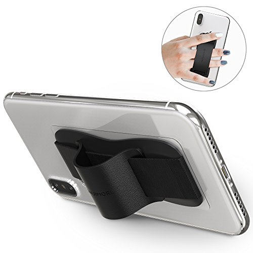 Sinjimoru Phone Grip Stand, Secure Handy Phone Strap for iPhone and Android. Phone Holder with Leather Phone Stand. Sinji Grip, Black.