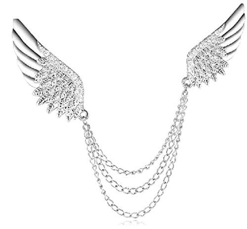 anazoz Fashion Jewelry Broche Femmes en acier inoxydable ailes Broche et Pins broche mariage-Couleur Argent