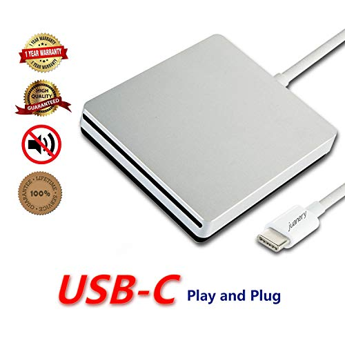 DVD Drive for PC DVD Drive computer CD Drive DVD/CD-ROM External Portable TYPE-C Super CD/DVD +/-RW Rewrite burner for latest Mac Pro/MacBook Pro/ASUS/DELL laptop Latitude with USB-C Port (silver) by Juanery