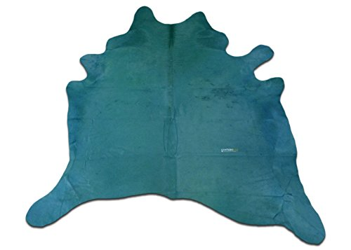 Dyed Cowhide Leather (Turquoise Cowhide Rug Size 7 X 7 ft Dyed Turquoise Cowhide Skin Rug j-494)