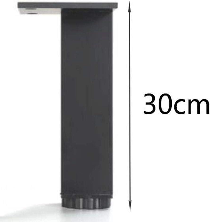 ,3cm Patas de mueble negras ajustables cuadradas patas del gabinete patas de aleaci/ón de aluminio almohadillas de apoyo patas de ajuste de patas un paquete de 4