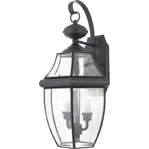 - Quoizel NY8317K Newbury Outdoor Wall Lantern Wall Mount Lighting, 2-Light, 120 Watts, Mystic Black (20