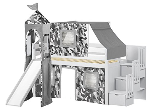 JACKPOT! Castle Low Loft Stairway Bed with Slide Gray Camo Tent and Tower, Loft Bed, Twin, White