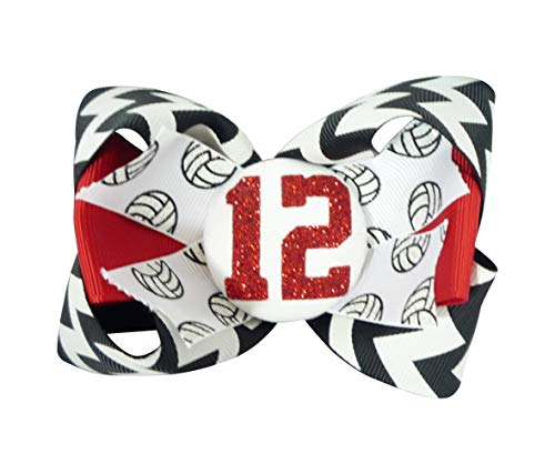 (Volleyball Glitter Hair Bow for Girls)