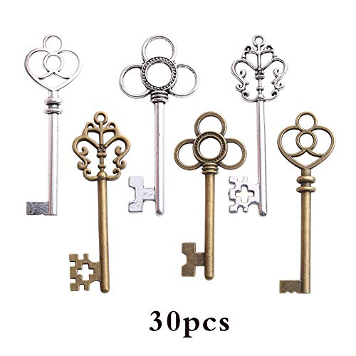Antique Key Charm - Bingcute 6 Type Of 30Pcs Antique Bronze Vintage Skeleton Keys And Antique Silver Skeleton Keys -Vintage Style Key Charms