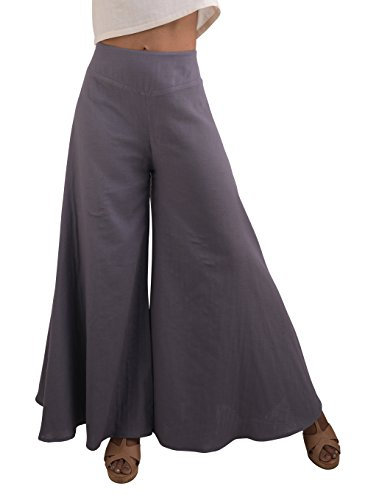 Tropic Bliss Women's Wide Leg Organic Cotton Palazzo Pants in Gray, XXL, Plus Size