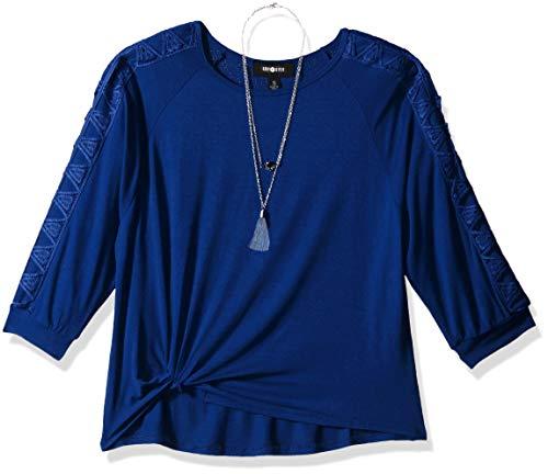 Amy Byer Girls Big Twist Front Lattice Sleeve Shirt