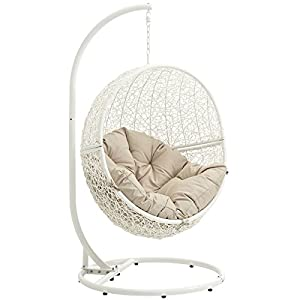 Modway Hide Outdoor Patio Swing Chair, White Beige
