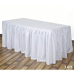 LinenTablecloth 14 ft. Accordion Pleat Polyester Table Skirt White
