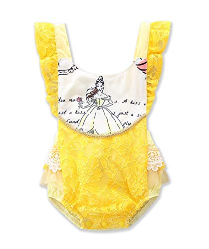 Disney Belle Baby (ABEE Newborn Baby Girls Beauty and The Beast Ruffle Sleeve Romper Bodysuit Jumpsuit Outfts)