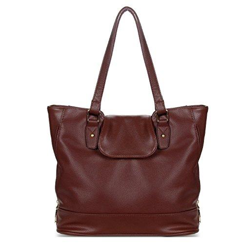 YOLANDO Handbags For Women Large Vegan Leather Top Flap Tote Bag Coffee