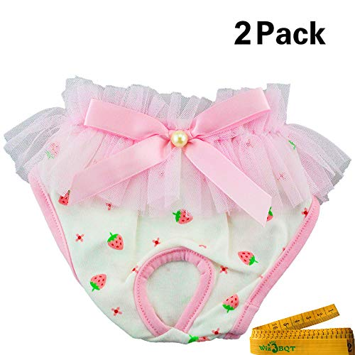 Wiz BBQT 2 of Reusable Washable Elastic Strawberry Printed Dog Pet Diapers Cover Up Sanitary Panties for Female Girl Dogs Puppy in Spring Summer Autumn (B) ()