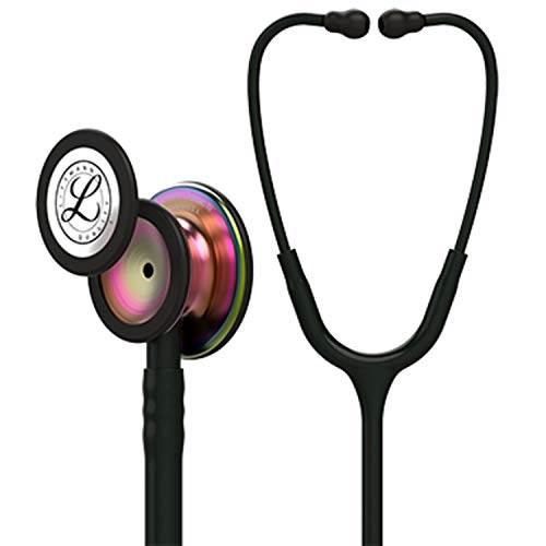 3M Littmann  Classic III Monitoring Stethoscope, Rainbow-Finish Chestpiece, black stem and headset, Black Tube, 27 inch, ()