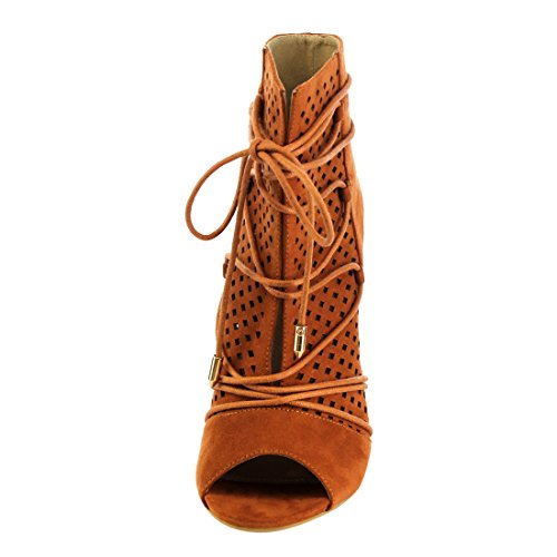 M&L EG35 Womens Laser Cut Out Lace Wrap Stiletto Heel Dress Ankle Booties Camel vgXa29Qr