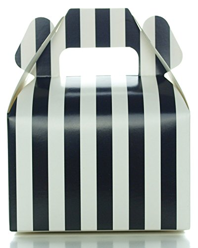 Black Candy Gift Boxes, Small Black Stripe Gable Boxes (12 Pack) - Wedding Favor Treat Boxes, Black Candy Buffet Supplies for Graduation Party (Cheap Graduation Centerpiece Ideas)