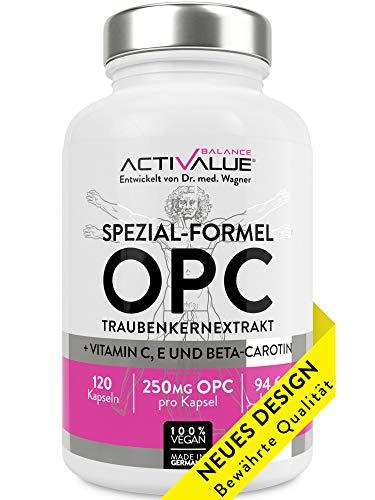 ACTIVALUE Premium-OPC Traubenkernextrakt - Dr.med.Wagner Erfolgs-Formel – 4-Monatspackung mit 250mg OPC pro Kapsel (525mg Traubenkernextrakt), 100% vegan, verstärkt durch Vitamin C, E, beta-carotin