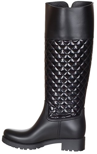 Quilted Women's Rubber Knee Salvatore Leather Ferragamo Black Raphael Boots Black High Shoes 6qI5q