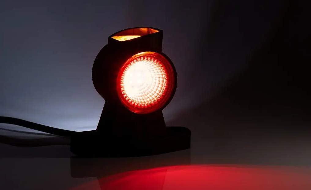 24V 3 Fonctions Lumi/ère Blanc Rouge Orange Avec C/âble Pour Remorque Camion Fourgon Paire De Led Feux De Gabarit Court 12V