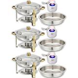 Chafing Dish Buffet Set — Water Pan + Food Pan (4 qt) + Frame + 3 Fuel Holders - Stainless-Steel Warmer Kit 3 Pack