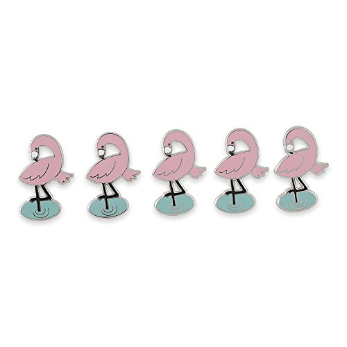 Pink Flamingo Hard Enamel Lapel Pin– 5 Pins (Vegas Pin Brooch)
