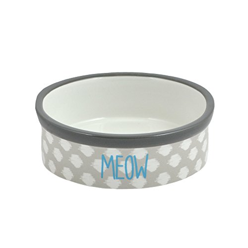 Territory Ceramic 1 Cup Cat Bowl, Grey (Dish Quilt)