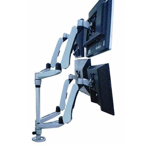 Mount-It! MI-65156 Quad Articulating, Rotating, Height Adjustable, Swiveling, Arm Desk Mount for Samsung, Sony, Element, Vizio, Panasonic, Sharp, LG, LCD, LED, Computer Monitor Displays, Silver