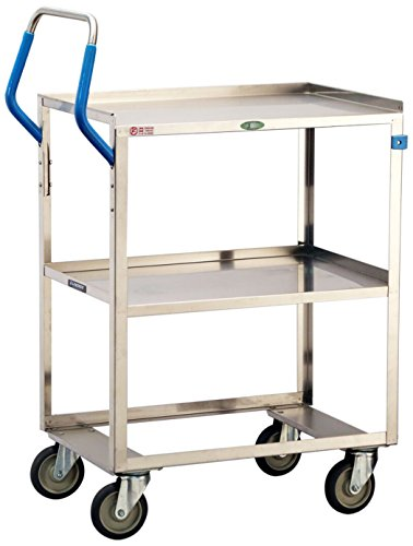 Lakeside 6810 ERGO-ONE Series Stainless Steel Utility Cart 500 lb. Capacity, 2 Shelves, 19'' x 31-1/8'' x 44-3/8'' by Lakeside Manufacturing
