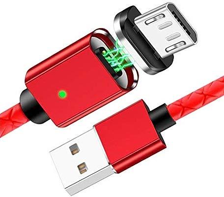 Cable BQ Aquaris U magnetico Cable USB microusb magnetico Cable Cargador BQ Aquaris U magnetico Cable Carga BQ Aquaris U Nylon Conectores Rojo