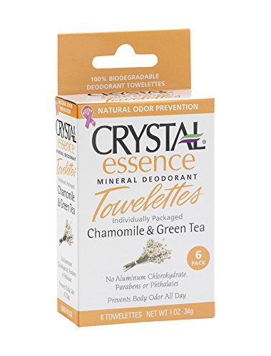Crystal Mineral Deodorant Towelettes, Chamomile & Green Tea (6 Count) For Sale