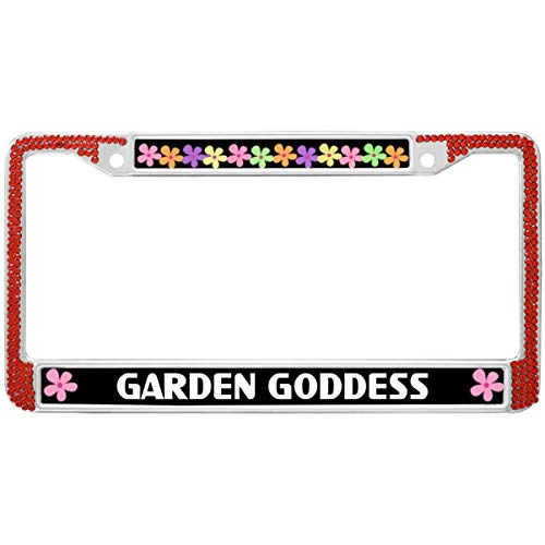 (Automotive License Plate Frame Garden Goddess License Plate Frame Stainless Steel License Plate Covers & Frames Classic Bling Rhinestone Car License Plate Frames)