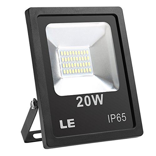 LE Outdoor LED Flood Light, IP65 Waterproof, 200W Halogen Bulb Equivalent, 20W 1600LM, Daylight White 6000K, 100° Beam Angle, for Home, Backyard, Patio, Garden and More