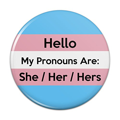 My Pronouns Are She Her Hers Gender Identity Pinback Button Pin Badge - 1