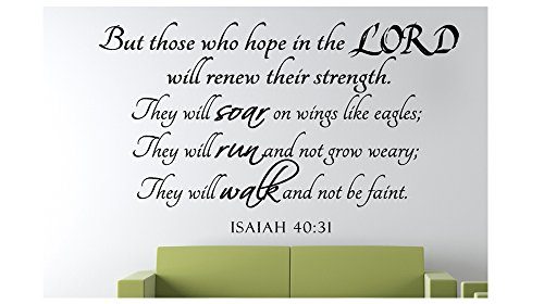 But those who hope in the... Isaiah 40:31 Religious Bible Verse Wall Decal Vinyl Art Sticker Home Decor Quotes (22