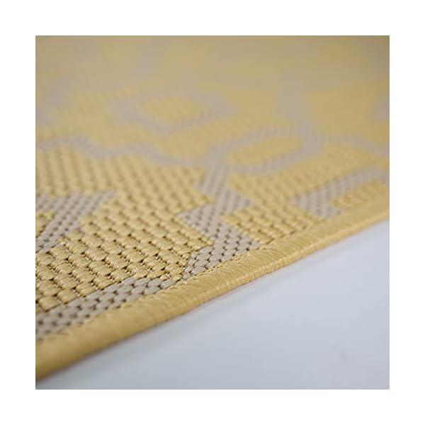 CC Teppich In-Outdoor Wetterfest Gelb-Beige 60x230cm Oeko-Tex Standard 100% Polypropylen Allergiker geeignet