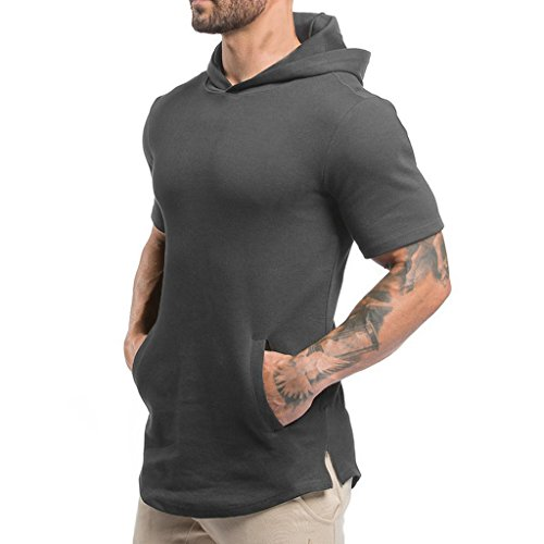Magiftbox Mens Hipster Hip Hop Workout Short Sleeve Hoodies Pullover Hooded Gym Sweatshirts with Kanga Pocket T07_Dark-Gray_US-M
