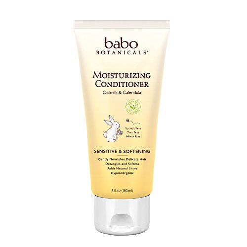 Babo Botanicals Moisturizing Conditioner, Oatmilk Calendula, 6 Ounce - Advanced Natural Family Haircare Treatment, Sensitive, Dry Hair & Scalp - Sulfate Free, Organic