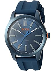 HUGO BOSS Mens DUBLIN Quartz Stainless Steel and Rubber Casual Watch, Color:Blue (Model: 1550046)