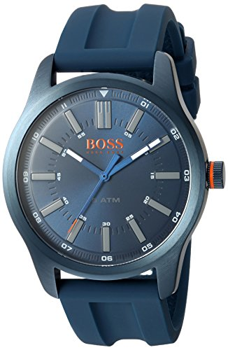 HUGO BOSS Men's 'DUBLIN' Quartz Stainless Steel and Rubber Casual Watch, Color:Blue (Model: 1550046)