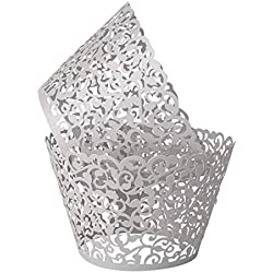 Benbilry 50 PCS Cupcake Wrappers Artistic Bake Cake Paper Cups Laser Cut for Wedding Party Birthday Decoration (Silver Grey)