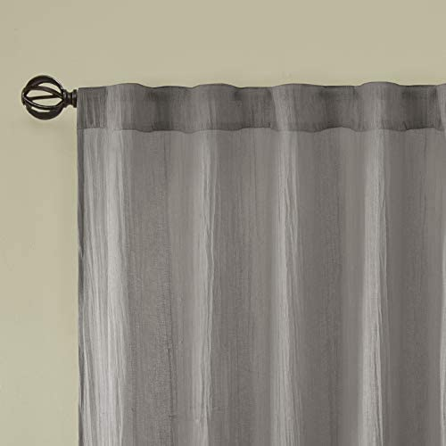 Madison Park Harper Sheer Bedroom, Modern Contemporary Window Curtain for Kitchen, Solid Fabric Panels, 42 x 108 , Grey