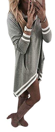 Fall Women Pocket Dress Long Irregular C Winter amp;H Gray Loose Sleeve 8wC1xqxX5