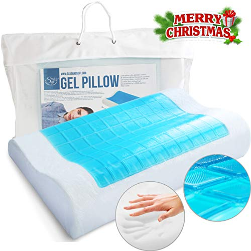Save&Soft Cool Gel y Almohada de Espuma de Memoria - Memory Foam Gel Pillow - Prevents Back Neck Pain Men Women - AIDS...