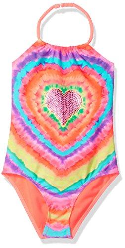 (Angel Beach Big Girls Tye Dye One Piece Swimsuit with Studded Hearts, Multi,)