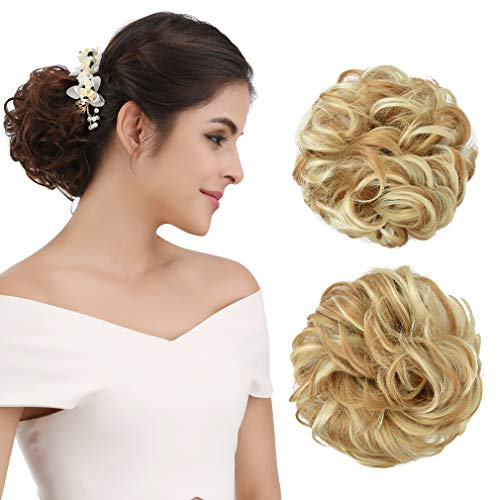 2 Hair Human Piece Extensions - REECHO Women's Thick 2PCS Curly Wavy Updo Hair Bun Extensions Messy Hairpieces - Light Golden Blonde with Bleach Blonde Highlights