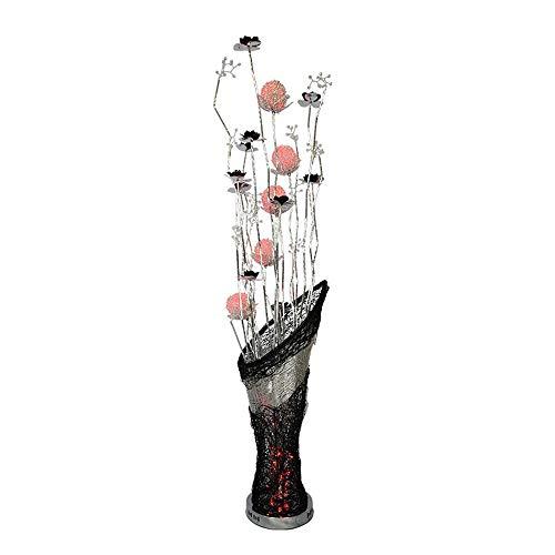 (Belief Rebirth Modern LED Stand Lamp Large - Elegant Silver Base Aluminium Metal Vase Flowers Design Floor Lamp with Black Petal [Energy Grade A+])