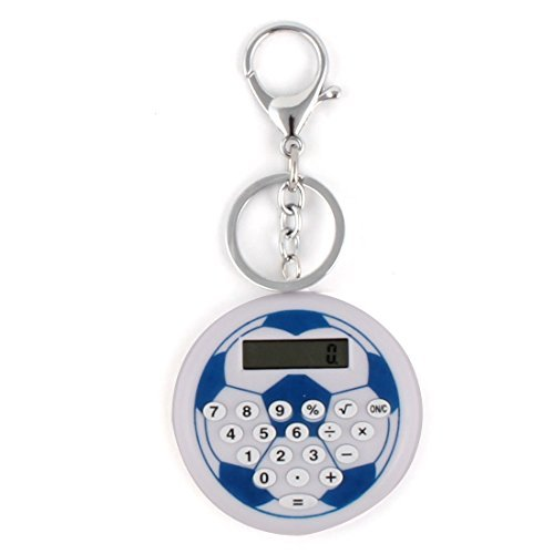 DealMux LCD Display Football Pattern 8 Digit Pocket Portable Key Chain Ring Calculator Blue ()