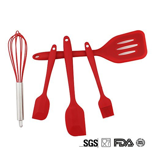Set of 5 Silicone Kitchen Utensils Premium Silicone Heat-Resistant Non-Stick Cooking Baking Utensils with Spatulas, Grill Brush, Stirrer (Red)