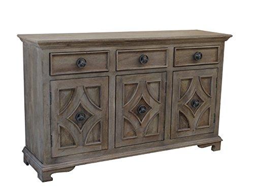 Sideboard Buffet Table Three Door (Khetri Smoke Grey Three Drawer Three Door Sideboard)