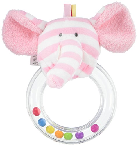 Manhattan Toy Ring Rattle Baby Toy, Pink Elephant