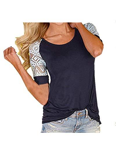 Elgante Chic Classique Fit Haut Shirt Chemisiers Femme Col Grande Mode Taille Shirts Courtes Dsinvolte Splicing Fille Basic Dame T Schwarz Slim Manches Rond Tops 44W5RZcSn